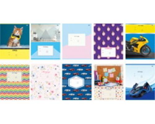 Тетрадь 12 листов клетка Super-Mix-2 (ассорти) 10 дизайнов