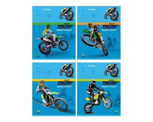 Тетрадь 12 листов клетка Biker (ассорти)