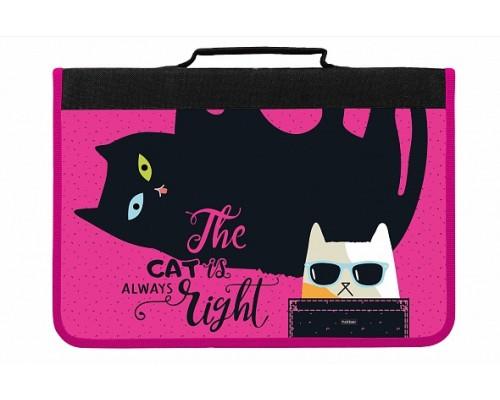 Папка для тетрадей А4 1 отделение Hatber Все любят котиков с ручками для девочки